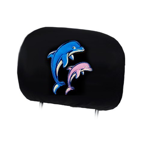 New Interchangeable Car Seat Headrest Cover Universal Fit for Cars Vans Trucks - One Piece (Dolphin)
