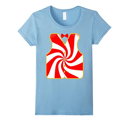 Womens Mr. Peppermint Costume T-Shirt Funny Candy Cane Vest Small Baby Blue