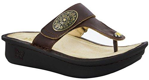 Arch Wedge Thong - Alegria Womens Carina Wedge Thong Sandal Hickory Size 36 EU (6-6.5 M US Women)