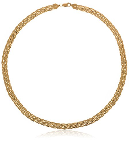 Silver Crystal Plated Gold Trinket (SilverLuxe 925 Sterling Silver 6 Row Braided Herringbone Chain Italian Made 18