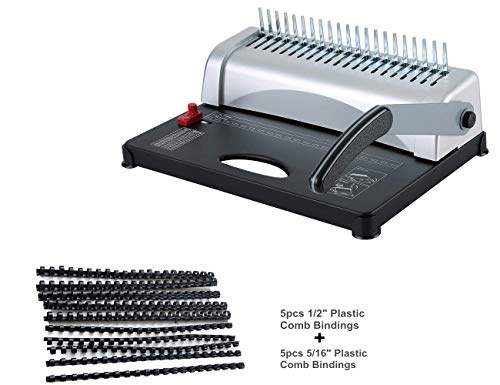 (FLK Tech Binding Machine with Starter Combs Set - 21 Hole / 450 Sheets Paper Punch Binder)