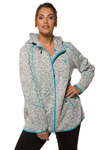 Popken Grey Strickfleece Turquoise Women's Ulla Melange Cardigan TqUAZ7wx7