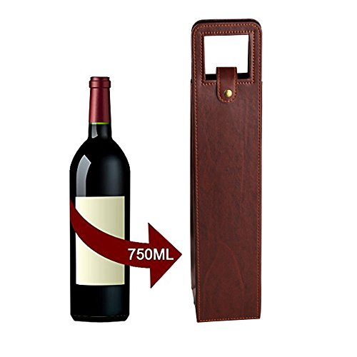 ZZoo Wine Tote Bag,Single Wine & Champagne Bottle Thermal Insulated Advanced Flocking Leather Carrier Case for Gift,Travel, Picnics and Beach Days (Brown)