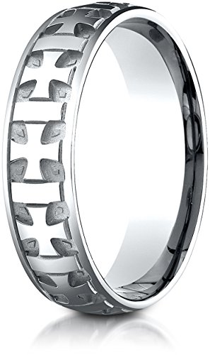 - Benchmark 18K White Gold 6mm Comfort-Fit Gaelic Cross Carved Design Wedding Band Ring, Size 4.75