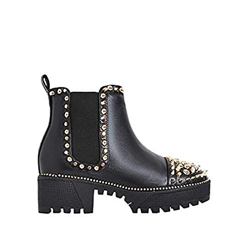 (Michelle Parker Cape Robbin Spiky Rager Black Vegan Leather Gold Spikes Platform Chelsea Bootie (9))