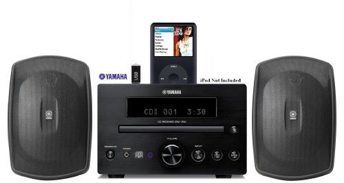 Yamaha Natural Sound Micro Home Theater Receiver Sound System with Integrated iPod Docking Station, High Quality CD Player, USB Port for Flash Drive & All Weather Indoor / Outdoor Speakers - 50ft of 16 AWG Speaker Wire Included by YAMAHA