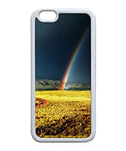 VUTTOO Iphone 6 Case, Rainbow After Storm Yellow Field Case Cover for Apple iPhone 6 4.7 Inch TPU White
