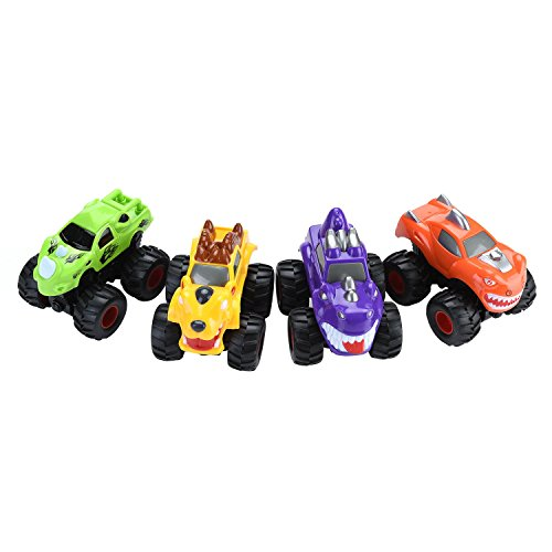 Mbros.KRJW Four-wheel Drive Big Wheel Pull Back Toy Cute Animal Toy Car Friction Multi-color Monster Toy Car Holiday Small Toy Gift 4 Pack