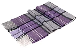 Plaid Scarf Women S Winter Cashmere Scarf W Gift Box Purple Grey Plaid