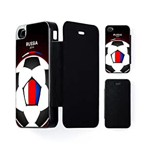Russia Football World Soccer Team 2014 - Russian Fans Flag III Carcasa Protectora Snap-On Negra en Formato Duro para Apple® iPhone 4 / 4s de UltraFlags + Se incluye un protector de pantalla transparente GRATIS