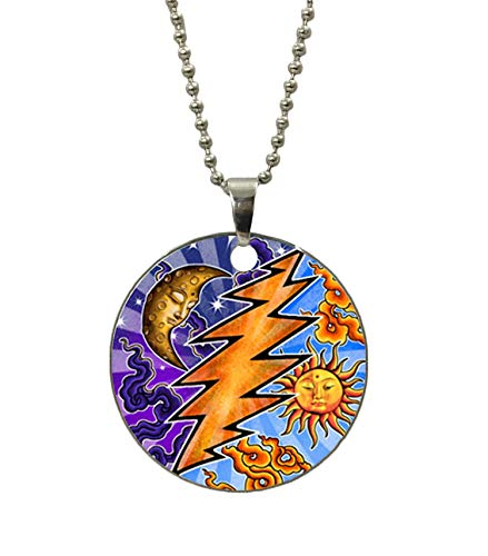 (Cute Sun and Moon Fashion Dog Tag Necklace Stainless Steel ID Tags Pendant Necklace with 24