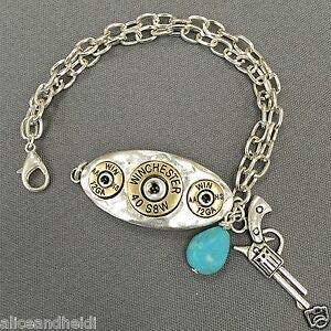 Antique Silver Chain Winchester Pistol Turquoise Stone Charms Bangle Bracelet Fashion Jewelry for Women Man