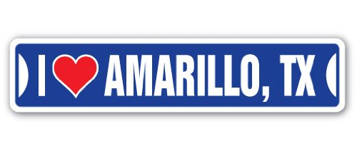 I Love Amarillo, Texas Street Sign tx City State us Wall Road décor Gift ()