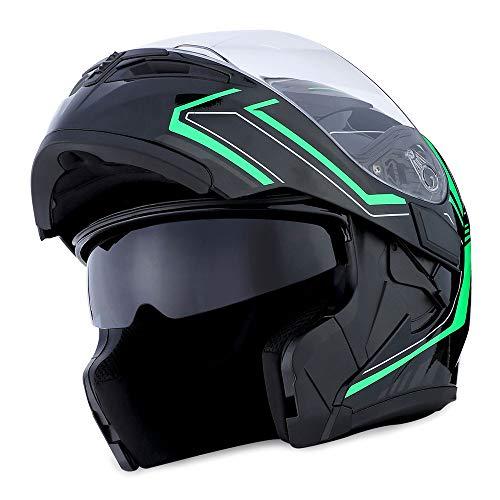 1Storm Motorcycle Modular Full Face Helmet Flip up Dual Visor Sun Shield: HB89 Arrow ()