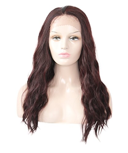 X-TRESS Long Wavy Synthetic Lace front wigs Glueless Synthetic Heat Resistant Free Part wig 22 Inches Lace Front Wavy Wigs For Black Women (99J)