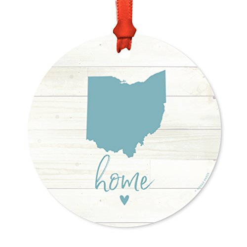 Andaz Press US State Round Metal Christmas Ornament, Rustic Light Wood Print, Ohio Home, 1-Pack, Includes Ribbon and Gift Bag (State Ornament Ohio Holiday)