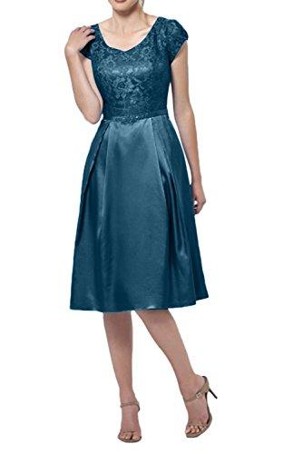 Abendkleider Festlichkleider La Knielang Ausschnitt Brautmutterkleider Kurzarm Elegant Spitze v Tinte Kurzes Blau Braut mia PRPq0p