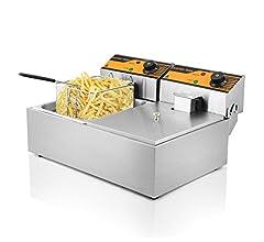 Autocompra Freidora Eléctrica 12L 5000W Freidora Industrial Acero Inoxidable para Patatas Fritas Deep Fryer Commercial (6L + 6L Tanque con accesorios) : Amazon.es: Hogar