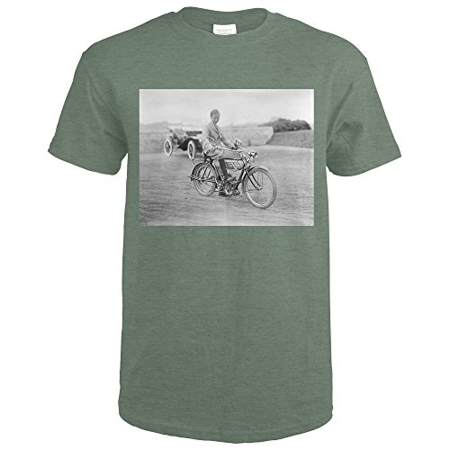 Old Motorcycle with Lantern Headlight Photograph (Heather Military Green T-Shirt