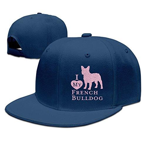 Cambridge Bulldog (SSEE Unisex FRENCH BULLDOG Flat Bill Baseball CapHat Navy)