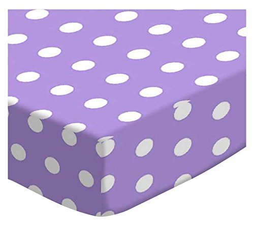 SheetWorld Fitted Portable/Mini Crib Sheet - Polka Dots Lavender - Made In USA by SHEETWORLD.COM