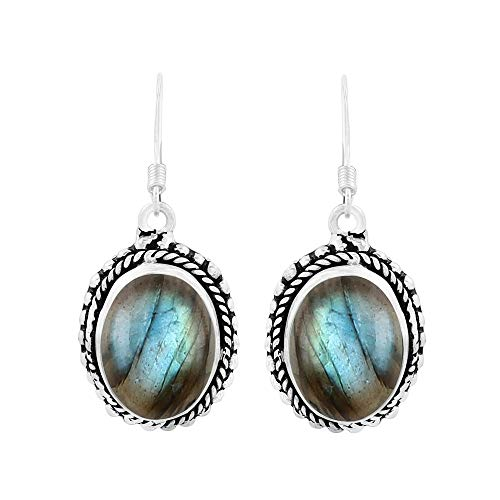 Genuine Oval Shape Labradorite Boho Style Dangle Earrings 925 Silver Overlay Handmade Jewelry For Women Girls