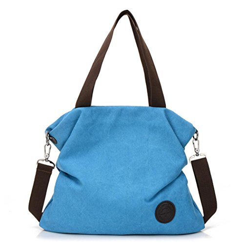 Women Solid Large Capacity Canvas Handbag Shoulder Satchel Bag (Blue) by Napoo-Bag