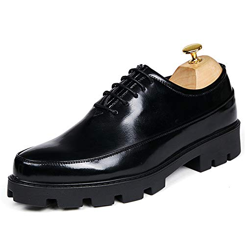 HONGkeke Men's Casual Business Oxford Fashion Classic Waterproof Vamp Strong Outsole Patent Leather Formal Dress Shoes Durable (Color : Black, Size : 9 D(M) US)