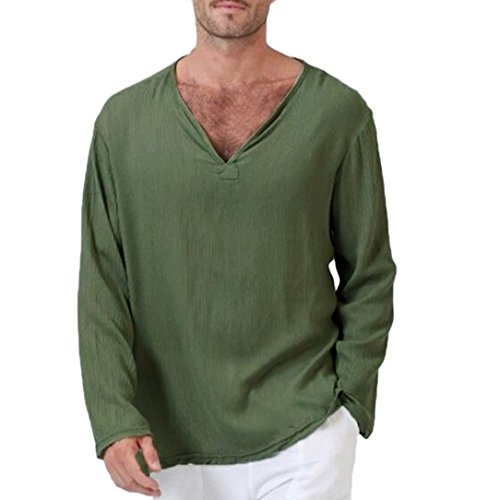 (haoricu Mens Summer Long Sleeve T-Shirt Cotton Linen Shirt V-Neck Sport Yoga Top Blouse Army Green)