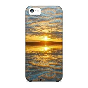 Awesome Fantastic Sunrise Reflected In Lake Flip Case With Fashion Design For Iphone 5c