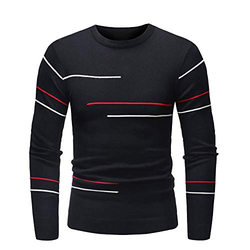 Sunhusing Men's Autumn Winter Knitted Striped Turtleneck Long Sleeve Slim Pullover Top (Silk Blend Mock Neck)
