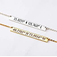 Custom Bar Pendant Necklace with Coordinate or Name 3 Colors 925 Silver/Copper
