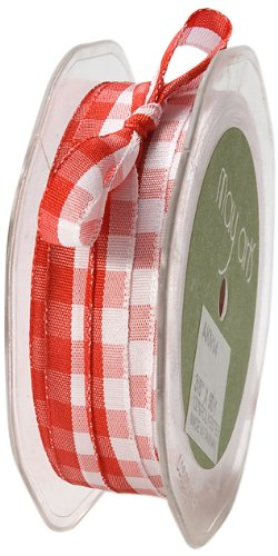 May Arts 3/8-Inch Wide Ribbon, Red and White Check