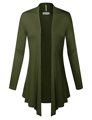 BIADANI Women Open Front Lightweight Cardigan Olive Large ()