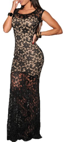 made2envy Lace Overlay See Through Back Long Evening Dress (M, Black) C6350
