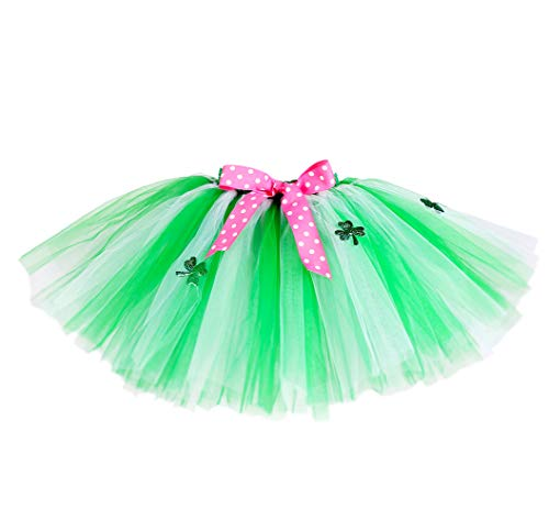 St Patrick's Day Green Shamrock Clover Tutu Skirt - Girls Outfit Leg Gifts Rush -