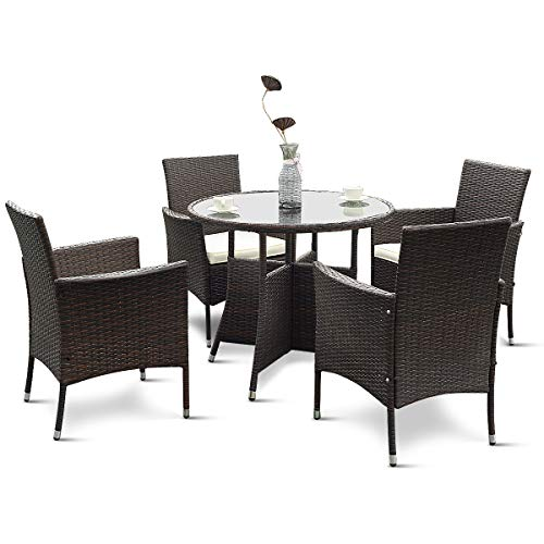Tangkula 5 Piece Dining Set Patio Furniture Outdoor Garden Lawn Rattan Wicker Table and Chairs Set Conversation Chat Set with Tempered Glass Top Table (Round - Deco Set Dining