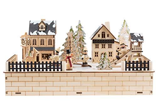 Clever Creations Traditional Winter Ice Skating Village Christmas Decoration | Battery Operated Ice Skating Rink and LED Christmas Lights | Animated 2'' Snowman and Children Figures on Frozen Pond by Clever Creations