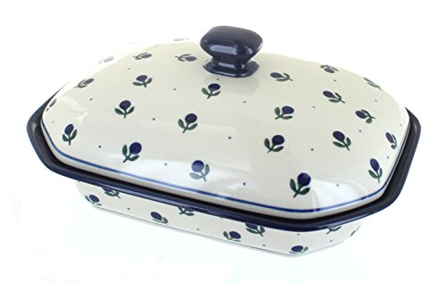 Polish Pottery Blueberry Medium Covered Baking Dish