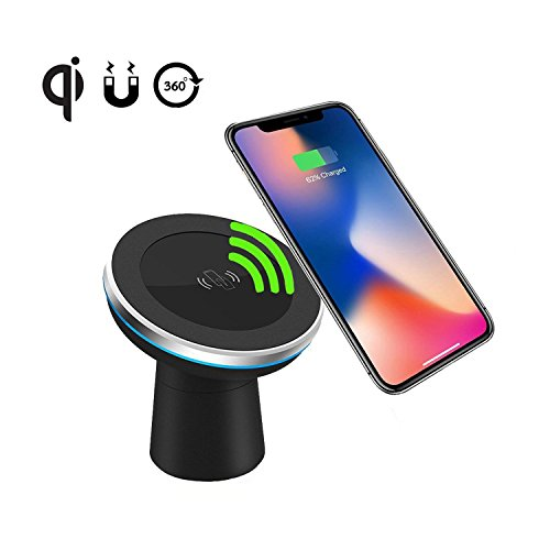 Wireless Car Charger Spedal 2-in-1 Magnetic Vehicle Mount Phone Holder Air Vent or Dashboard for iPhone X/iPhone 8 Plus/ iPhone 8/ Samsung Galaxy Note 8/S8/S8 Plus and All Qi-Enabled Devices