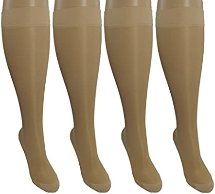 Amazon Com 4 Pair Sheer Small Medium Ladies Compression Socks Moderate Medium Graduated Compression 15 20 Mmhg Nurses Work Therapy Travel Flight Knee High Hosiery Color Nude Health Personal Care