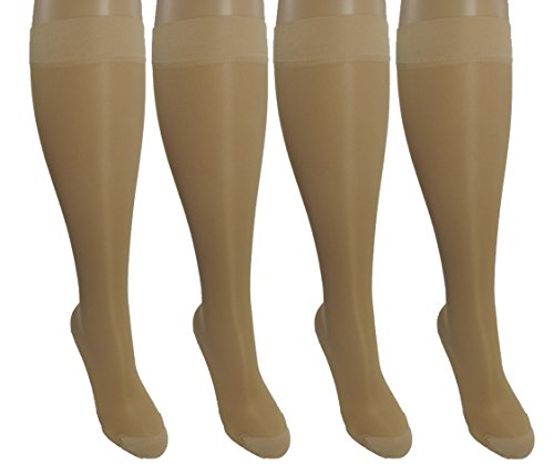 -Large Ladies Compression Socks, Moderate/Medium Graduated Compression 15-20 mmHg. Nurses, Work, Therapy, Travel & Flight Knee-High Hosiery. Color: Nude (Red Cross Nursing Shoes)