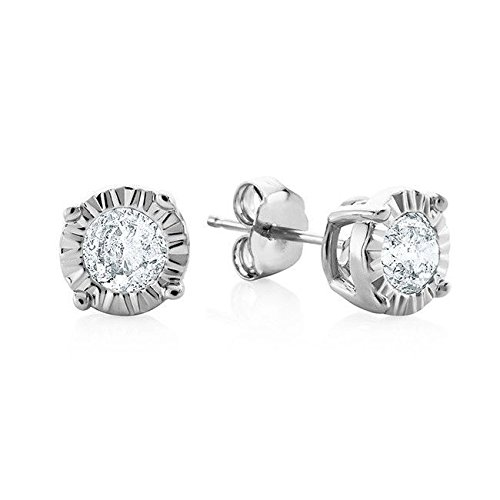 14KT White Gold 0.17ct G-H I2 Miracle Pushback Solitaire Earrings by Uncle Sam's Collection
