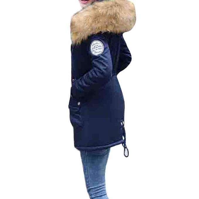 Luckycat Abrigo con Capucha con cordón Abrigo Largo para Mujer Chaquetas Acolchadas de algodón Abrigos de