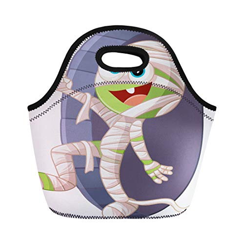 Semtomn Neoprene Lunch Tote Bag Halloween Mummy Cartoon Funny Green Ancient Character Walking From Reusable Cooler Bags Insulated Thermal Picnic Handbag for -