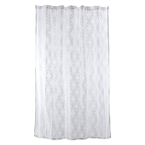 DII Everyday 100% Polyester Extra Long Bath Fabric Shower Curtain for Bathroom, 72x72 - White Lattice Lace