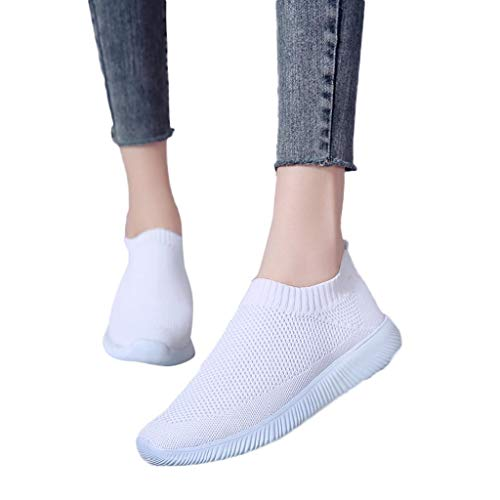 (Behkiuoda Women Outdoor Sneakers Mesh Solid Color Sports Shoes Running Breathable Shoes White)