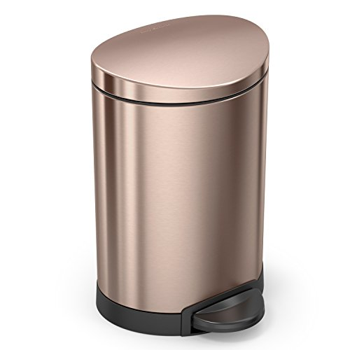 simplehuman Semi-Round Trash Can, Rose Gold Steel, 6L/1.59 Gal Step