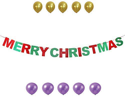 GrantParty Merry Christmas Red & Green Glitter Bunting Banner Cheerful Letter House Outdoor Indoor Photo Prop Decoration Sign with 10 Balloons ()
