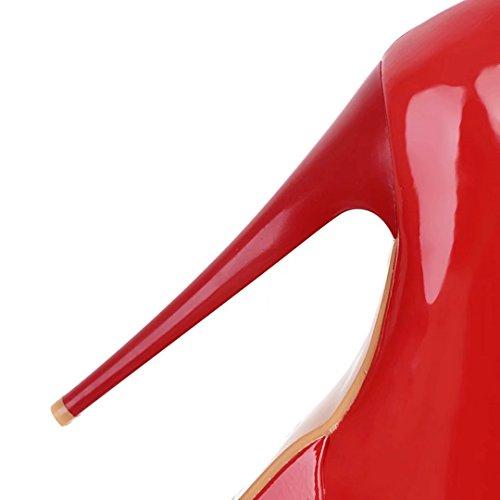 Plateau AIYOUMEI 15 Absatz Hoher Lack Heels Soper Stiefeletten Rot High mit Damen Stilettos Absatz Ankle 5cm Boots XrXqSv